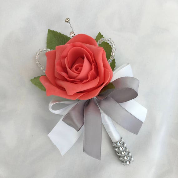Artificial Wedding Flowers, Buttonholes, Boutonnieres, Ladies Corsage, Coral Roses with crystals and diamantes