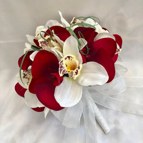 Artificial Wedding Flowers, Brides, Bridesmaids, Flower girls Posy Bouquet with Red and Cream Orchids, Beargrass