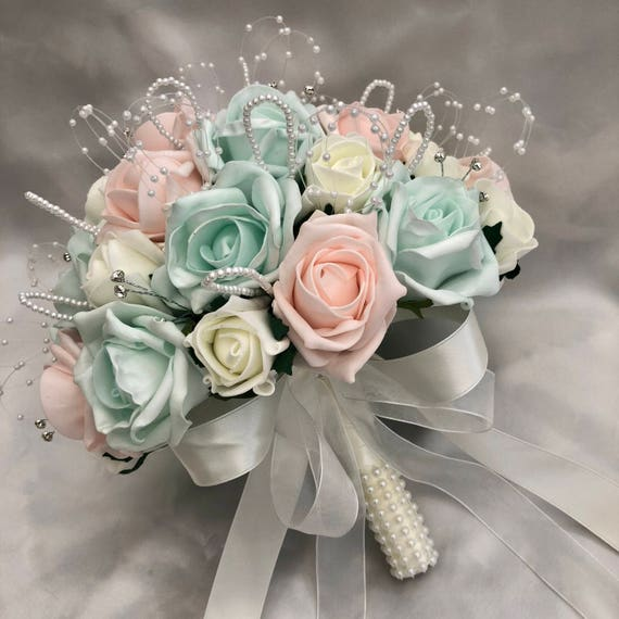 Artificial Wedding Flowers, Brides, Flowergirls, Bridesmaids, Posy Bouquet with Baby Pink, Mint Green & Ivory Roses, pearls and diamantes