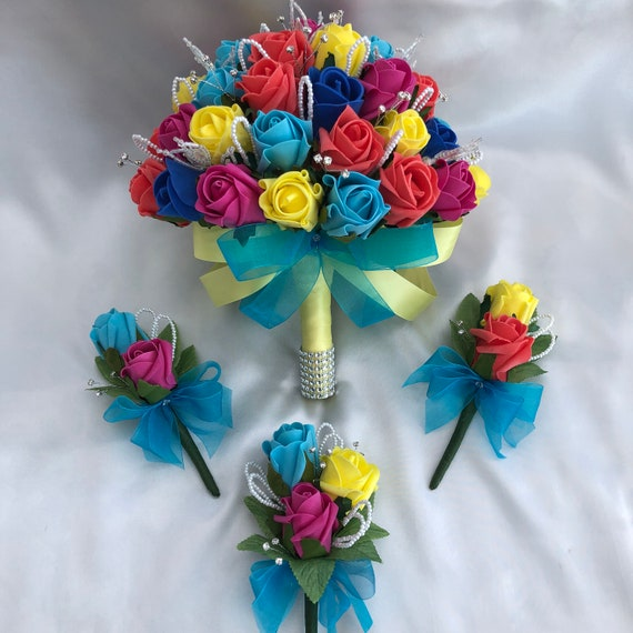 Artificial Wedding Flowers, Brides Bouquet, Buttonholes, Ladies Corsage, Rainbow Colours, Pride, Roses, Diamantes, Pearls