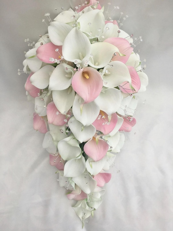 Artificial Wedding Flowers, Brides Teardrop Bouquet in Pink and White Real Touch Calla Lilies with Diamanté
