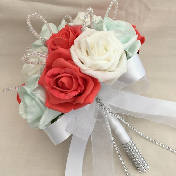 Artificial Wedding Flowers, Brides, Bridesmaids, Flower girls Posy Bouquet with Coral, Mint Green and White Roses with crystal loops