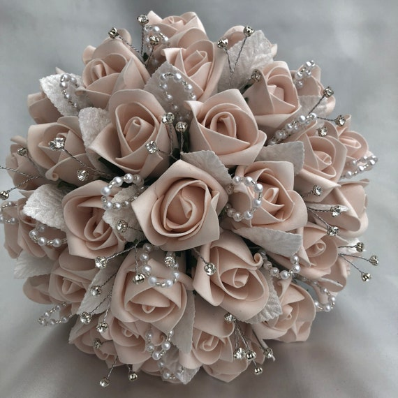 Artificial Wedding Flowers, Brides, Bridesmaids, Flower girls Posy Bouquet with Mocha Pink Roses, Diamantes, pearl/crystal loops