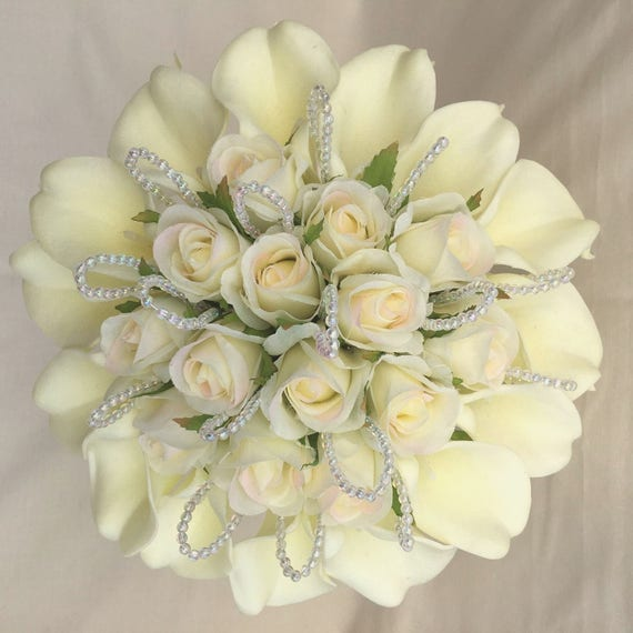Artificial Wedding Flowers, Brides Posy Bouquet, Ivory Real Touch Calla Lilies, Silk Roses, Crystal Loops