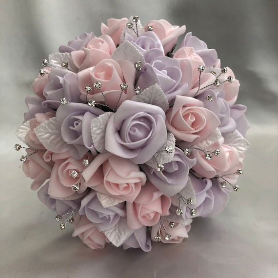 Artificial Wedding Flowers, Brides, Bridesmaids, Flower girls Posy Bouquet with Baby Pink and Lilac Roses, Diamantes, White Satin Leaves