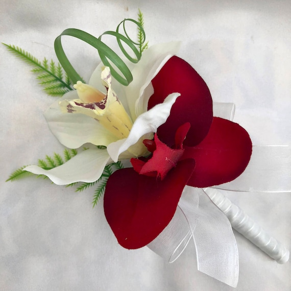 Artificial Wedding Flowers, Ladies Pin on Corsage, Buttonhole, Butonniere, with Red and Cream Orchids, Beargrass