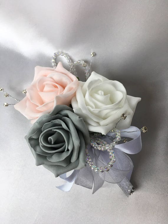 Artificial Wedding Flowers, Buttonholes, Boutonnieres, Ladies Corsage, Baby Pink, white and Grey Roses with crystals and diamantes