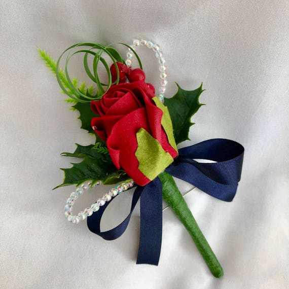 Artificial Wedding Flowers, Buttonholes, Boutonnieres, Ladies Corsage, Red Rose, Holly, Crystals