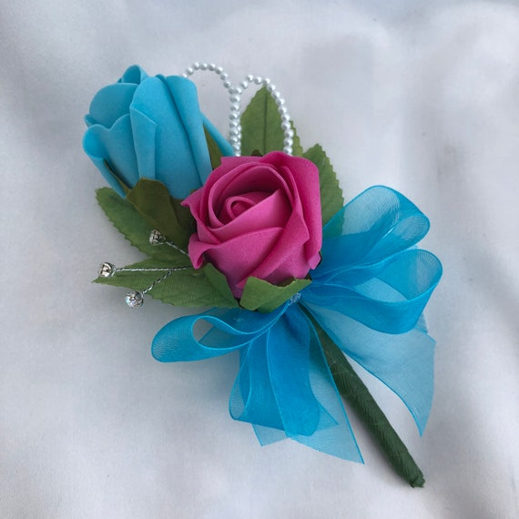 Artificial Wedding Flowers, Corsage, Buttonhole, Boutonniere, Rainbow Colours, Pride, Roses, Diamantes, Pearls. ANY COLOURS AVAILABLE