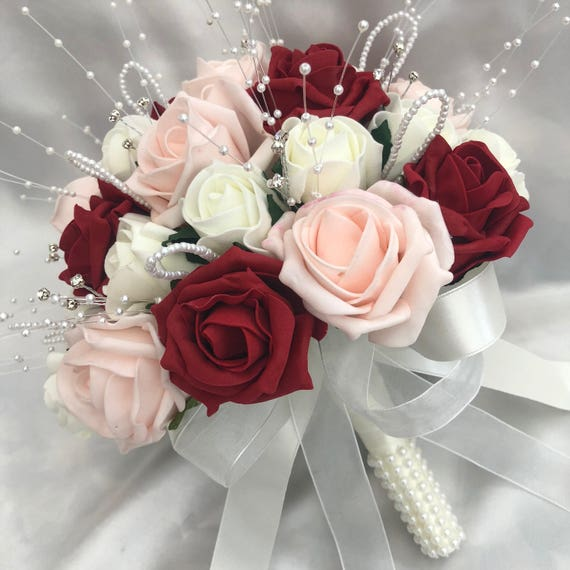 Artificial Wedding Flowers, Brides, Flowergirls, Bridesmaids, Posy Bouquet with Baby Pink, Red & Ivory Roses, pearls and diamantes
