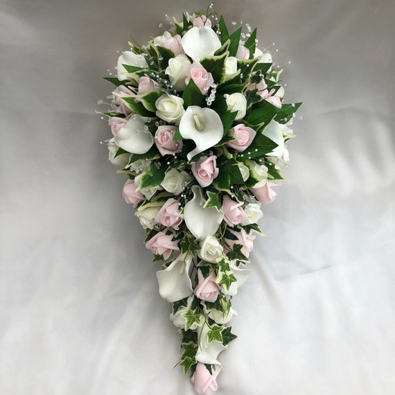 Artificial Wedding Flowers, Brides Teardrop Bouquet, Calla Lilies, Ivory and Baby Pink Roses, Crystal Sprays