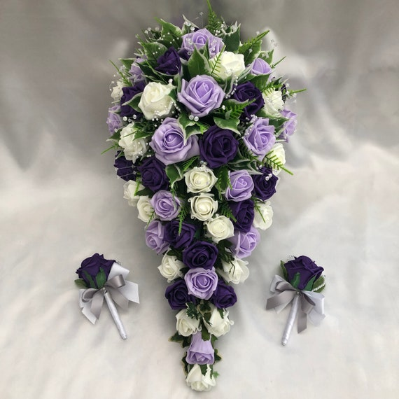 Artificial Wedding Flowers, Brides Teardrop Bouquet with 2 rose buttonholes, Ivory, lilac and purple Roses, Crystal Sprays, pearl sprays