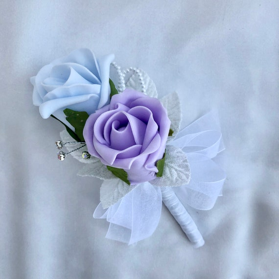 "Artificial Wedding Flowers, Ladies Corsage, Buttonhole, Boutonniere, Lilac and Baby Blue Roses, Diamantes ""ANY COLOUR AVAILABLE"""