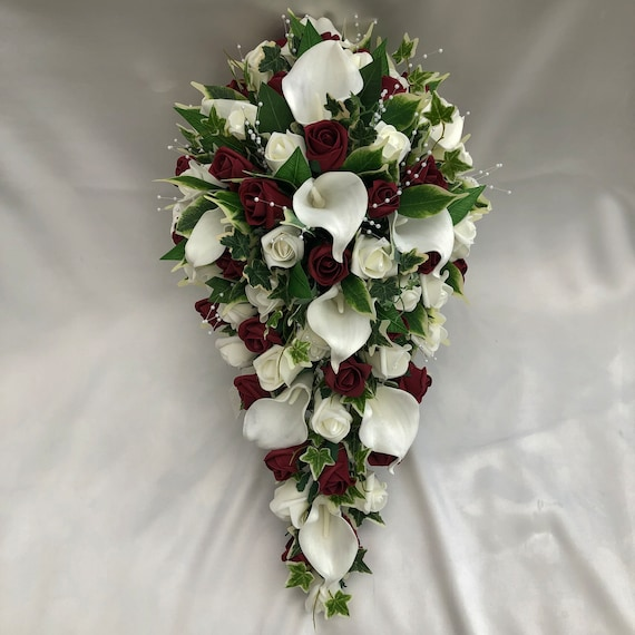 Artificial Wedding Flowers, Brides Teardrop Bouquet, Calla Lilies, Ivory and Burgundy Roses, Crystal Sprays