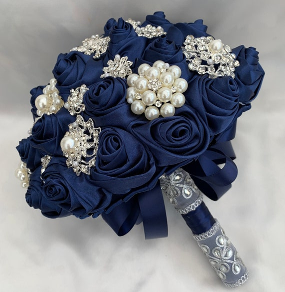 Brides Brooch Bouquet, Navy Blue and Silver, Satin Roses, Unique Elegant Vintage Chic, Indian, Crystals & Pearls, Artificial Wedding Flowers