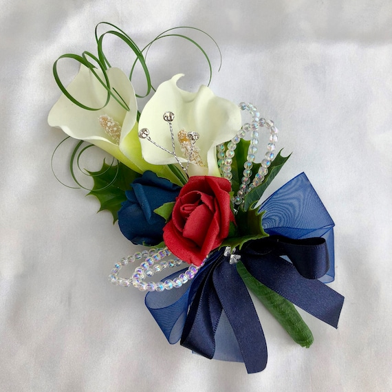 Artificial Wedding Flowers, Ladies Corsage, Buttonholes, Boutonnieres, Red Roses, Calla Lilies, Holly, Crystals, Diamante