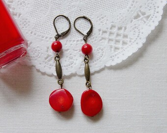 Red Coral Earrings, Dangle Earrings, Drop Earrings, Red Coral, Antique Brass