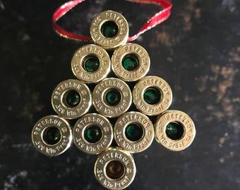 Christmas tree bullet casing ornament