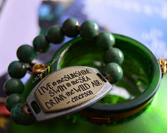 Green Beaded Emerson Quote Bracelet