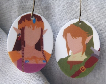 Link and Zelda earrings, Legend of Zelda, Nintendo earrings, Princess Zelda, Twilight Princess earrings