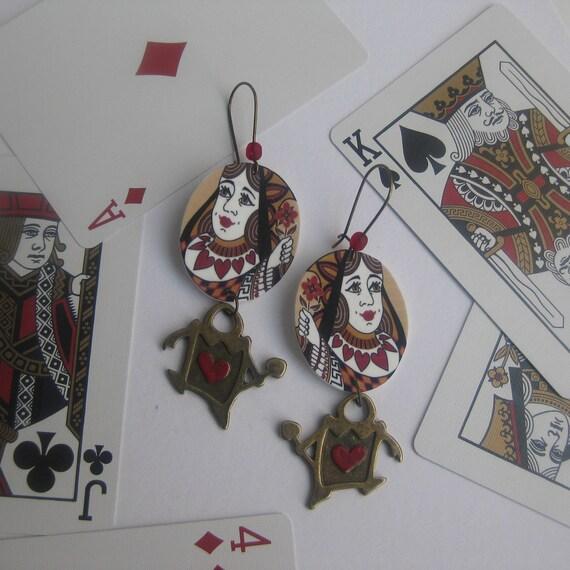Alice in Wonderland Playing Card Earrings