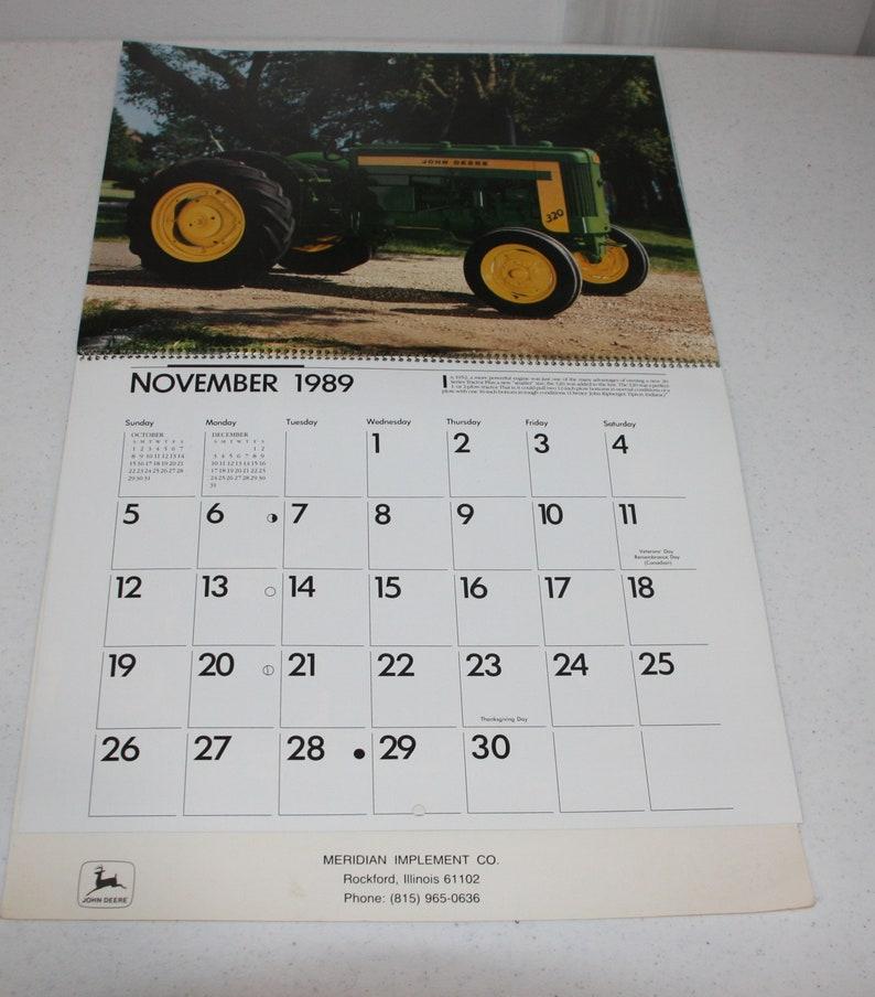 VINTAGE GREEN 1989 John Deere 2-Cylinder Tractor Calendar, free shipping