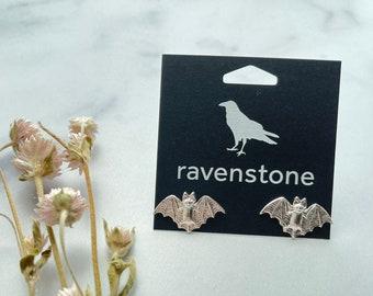 The Silver Bat Stud Earrings | ravenstone