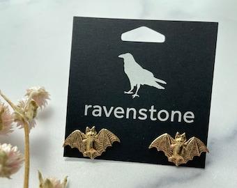 The Golden Bat Stud Earrings | ravenstone