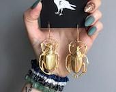 giant scarab beetle earrings