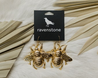 The Big F'ing Bee Earrings // ravenstone earrings // made in the usa // nickel free jewelry
