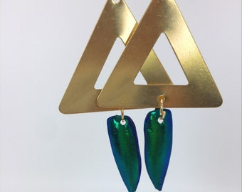 triangle with beetle wing earrings
