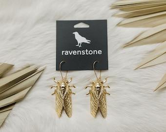 The Golden Cicada Earrings | ravenstone