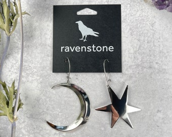 The Big Silver Crescent Moon and Star Earrings | ravenstone