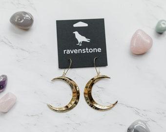 The Big Golden Crescent Moon Earrings | ravenstone