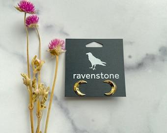 The Golden Crescent Moon Stud Earrings | ravenstone