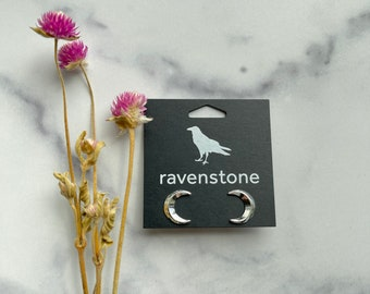 The Silver Crescent Moon Stud Earrings | ravenstone