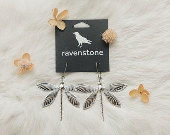 The Silver Dragonfly Earrings // ravenstone earrings // nickel-free earrings // made in usa