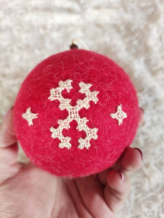 Double Sided Cross Embroidery Needle Felted Wool Christmas Ornaments Armenian Design and Eternity Symbol