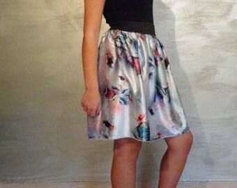 Mini skirt/double face floral skirt
