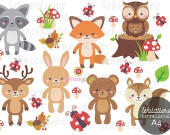 BÜGELBILDER WALDFREUNDE, ironing picture bunny, ironing picture owl, temple picture fox, ironing squirrel, ironing picture forest animals