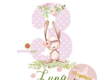 BÜGELBILD Forest Friends, Ironing Picture Birthday, Ironing Picture Bunny, Ironing Picture Bunny Birthday