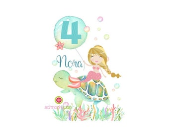 BÜGELBILD mermaid and turtle, ironing picture birthday mermaid, ironing picture turtle