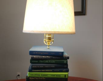Stacked book lamp etsy upcycled book lamp aloadofball Image collections