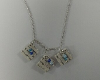 Handmade Necklace- Made of Old  Book Pages and Scrabble Tiles - Upcycled Jewelry, Book page jewelry