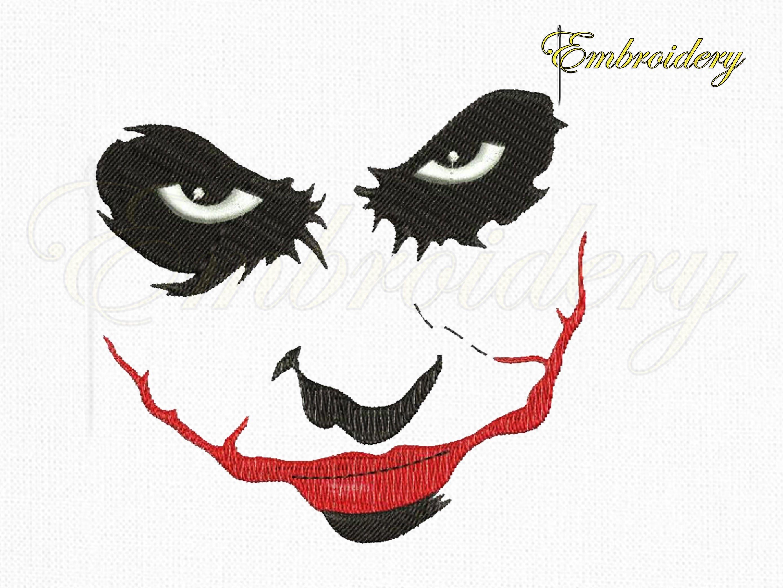 Batman Joker Face Machine Embroidery Design Marvel Joker Etsy