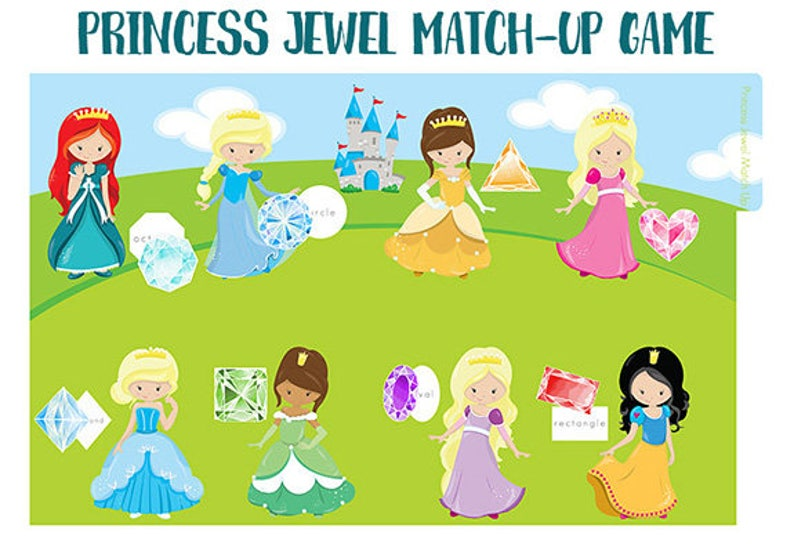 image relating to Printable File Folder Game named PRINCESS JEWEL Game-up Record Folder Match Printable - Downloadable PDF