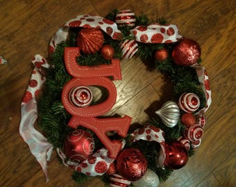 "24"" ""Joy"" Wreath in Red and White"
