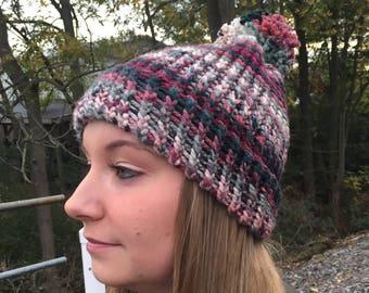 Holiday Inspired Adult Winter Pom Pom Hat