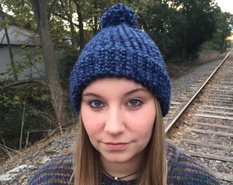Blue Adult Winter Hat with Pom Pom