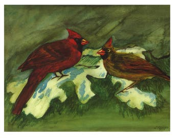 Red Robins watercolor, gift for him, gift for her, watercolor print, landscape watercolour, wildlife painting, farm painting, country art